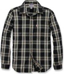 carhartt blouse men l/s essential open collar shirt plaid black-xxl