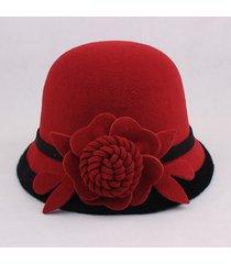 cappello da donna elegante da donna in lana di feltro con fiore caldo