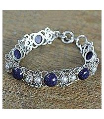 cultured pearl and lapis lazuli link bracelet, 'twilight garden' (india)