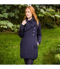 ladies aran wide collared button coat navy large