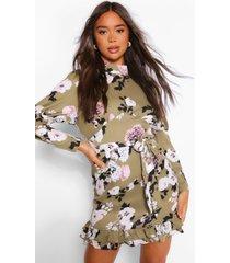 bloemenprint mini jurk met hoge kraag en pofmouwen, salie
