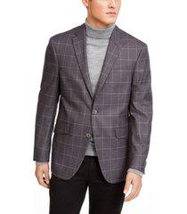 kenneth cole reaction men's slim-fit stretch gray windowpane sport coat
