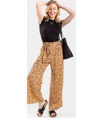 georgette leopard palazzo pants - brown