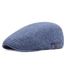 berretto da baseball a tinta unita in lino vintage da uomo. berretto da passeggio casual da viaggio