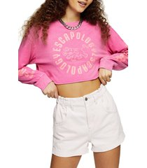 women's topshop escapology long sleeve crop graphic tee, size small - pink