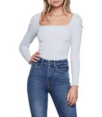 women's good american the square neck sweater, size 0 - grey