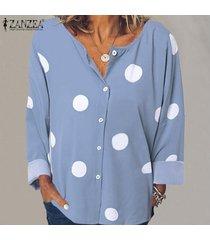zanzea mujer polka dot manga larga cuello redondo botones tops camisa blusa tallas grandes -azul