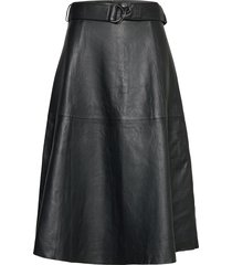arlan leather midi skirt knälång kjol svart french connection