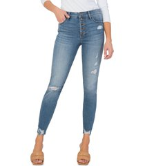 women's kut from the kloth connie fab ab ripped high waist ankle skinny jeans, size 4 - blue