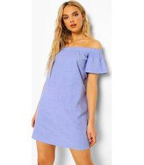 chambray mini jurk met uitgesneden hals, dark blue