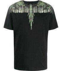marcelo burlon county of milan wood wings print t-shirt - black