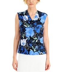 kasper floral-print cowl-neck top
