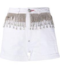 philipp plein crystal fringe-embellished denim shorts - white