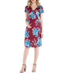 24seven comfort apparel floral print maternity faux wrapover dress with cap sleeves