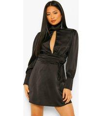 petite satijnen mini jurk met hoge hals en open rug, black