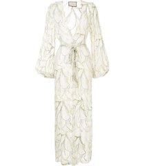 alexis leaf print beach dress - white