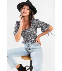 bethany floral tie sleeve blouse - black/white