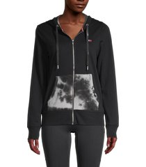 tommy hilfiger sport women's tie-dyed cotton-blend hooded jacket - black combo - size m