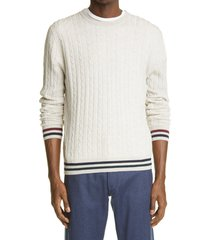 men's canali cable wool crewneck sweater, size 48 us - beige