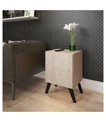 mesa de cabeceira marrom com porta e pés palito estilo retrô lilies móveis