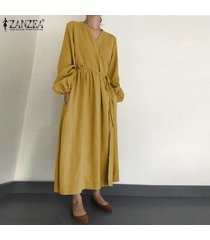 zanzea vestido camisero de manga larga con linterna para mujer vestido largo largo elegante para mujer kaftan tallas grandes -amarillo