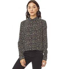 blusa manga larga crop mujer puntos negro corona