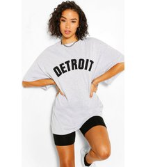 detroit applique oversized t-shirt, grey marl