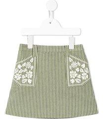 velveteen rhea striped a-line skirt - green