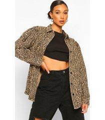 luipaardprint spijkerjas met ballonmouwen, stone