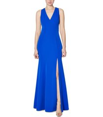 laundry by shelli segal cutout slit crepe gown