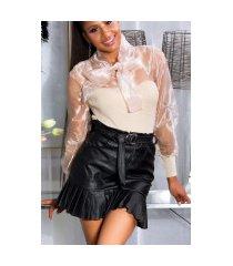 sexy fashionista hoge taille lederlook rok zwart