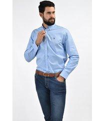 camisa azul oxford custom fit para hombre