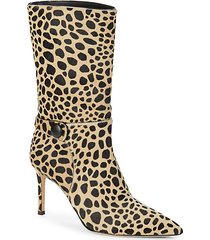 animal-print calf hair booties