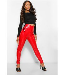 vinyl super stretch leggings met split, rood