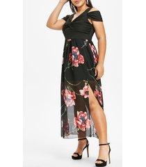 plus size flower twisted open shoulder plunging dress