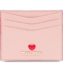 miu miu madras love logo card holder - pink