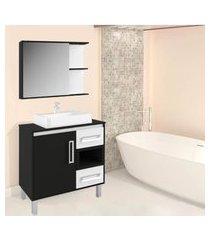 gabinete banheiro tampo mdf e nicho nero lilies móveis