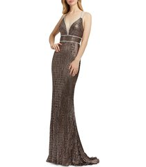 mac duggal women's metallic multistrap gown - copper - size 2