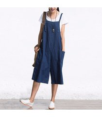 mono jumpsuit denim sleeveless pierna anchos -azul