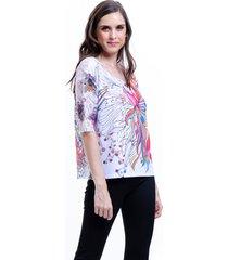blusa 101 resort wear tunica renda estampada floral