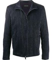 giorgio armani ribbed zip-up jacket - blue