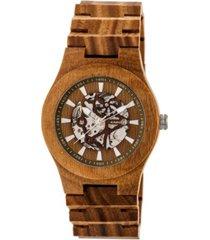 earth wood gobi automatic skeleton wood bracelet watch olive 45mm