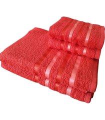 jogo 4 toalhas 2 banho 2 rosto - onix  vermelho - vermelho - dafiti