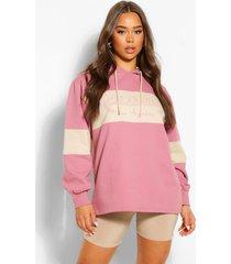 oversized colourblock hoodie met tekst, rose