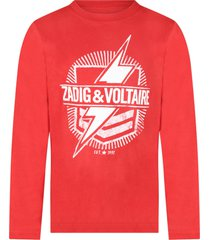 zadig & voltaire red boy t-shirt with logo and thunder