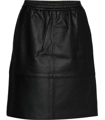 bitten leather skirt knälång kjol svart minus