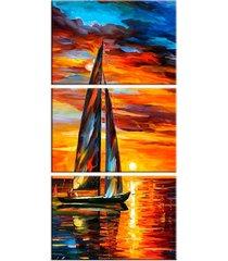conjunto de telas decorativa pintura barco a vela com sol grande love decor