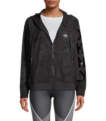 dkny sport women's monstera-print hooded jacket - black - size m