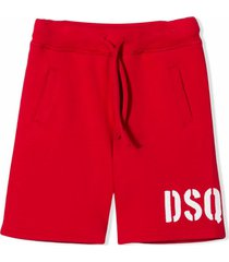 dsquared2 red cotton track shorts
