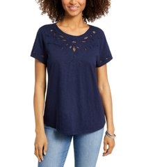 charter club cutout cotton t-shirt, created for macy's
